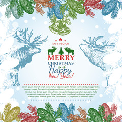 Vector vintage merry christmas greeting card