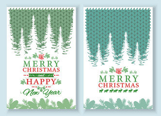 Merry Christmas and Happy New Year Card. Set of brochure, poster