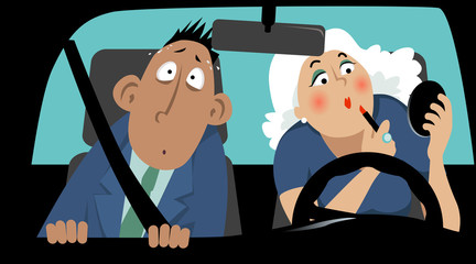 Terrified passenger sitting in  car next to a female driver who is applying make-up, EPS 8 vector illustration no transparencies