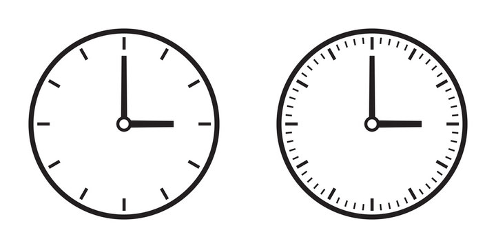 Two simple clock dials, gray on white background