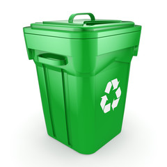 3D rendering Green recycling Bin