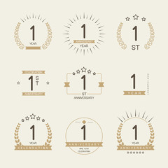 One year anniversary celebration logotype. 1st anniversary logo set.
