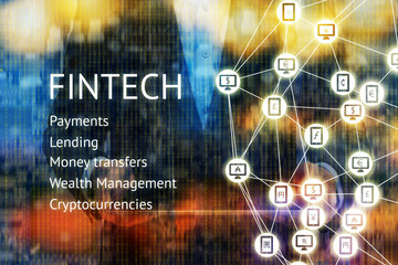 Fintech concept. Man suit World currencies sign on mobile, computer icon.Fintech , payments , lending , money transfers , wealth management , cyptocurrencies text with binary coded abstract background
