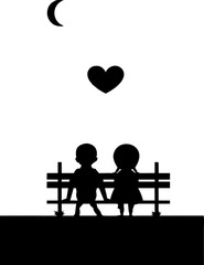 silihouette-boy-girl-sitting bench-illustration