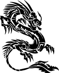 tribal-dragon for tattoo or toy and statuary