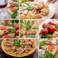 Collage of pizza on a wooden table