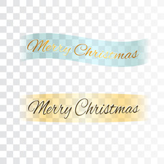 Merry Christmas banners. Blue, gold ribbons with text isolated on background. Golden design. Decoration template for card, greeting, invitation. Symbol Happy New Year holiday Vector illustration