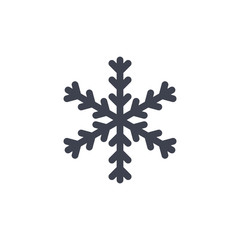 Snowflake icon. Gray silhouette snow flake sign, isolated on white background. Flat design. Symbol of winter, frozen, Christmas, New Year holiday. Graphic element decoration. Vector illustration