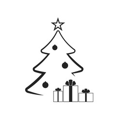 Christmas tree with balls, star, gift. Cartoon icon. Black silhouette decoration sign, isolated on white background. Flat design. Symbol holiday, Christmas, New Year celebration Vector illustration