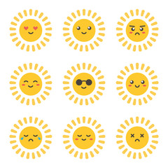 Flat design cartoon cute sun character with different facial expressions, emotions. Set, collection of emoji isolated on white background.