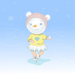 Christmas Snowgirl skating on ice
