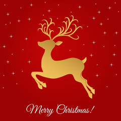 Christmas greeting card template with golden reindeer.
