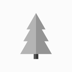 Christmas tree sign. Simple cartoon icon. Black template silhouette, isolated on white background. Flat design. Symbol of holiday, winter, Christmas, New Year celebration. Vector illustration