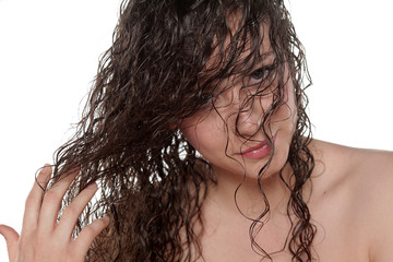young woman posing with wet hair