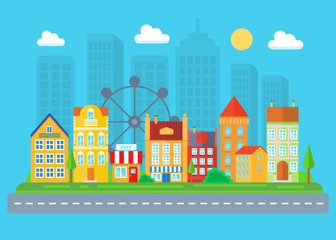 Urban and village landscape. Cityscape vector illustration.