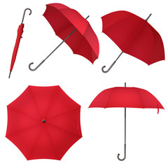 Red blank classic round rain Umbrella. Photo Realistic Umbrella vector illustration.