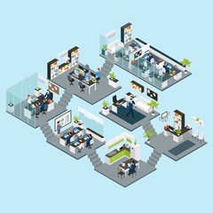 Office Isometric Different Floors