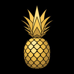 Pineapple gold icon. Tropical fruit, isolated on black background. Symbol of food, sweet, exotic and summer, vitamin, healthy. Nature logo. 3D concept. Design element Vector illustration