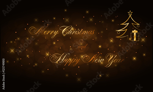 merry christmas and happy new year gold text holiday background golden type decorative design