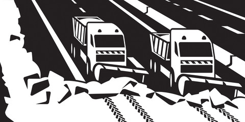 Snow plow trucks clear highway - vector illustrator