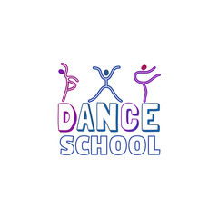 Dance icon concept. Ballet studio logo design template. Fitness dance class banner background with symbol of abstract people ballerina in dancing poses. Vector illustration.