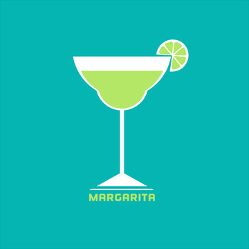 Drinks concept. Margarita Flat design icon. Martini cocktail in glass with lime slice. Template for logo or advertisement. Element for club event banner background. Vector illustration