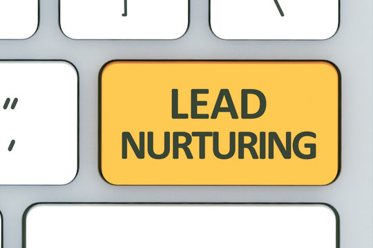 Keyboard with lead nurturing button. Computer white keyboard wit