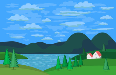 Green landscape. Mountain river in the valley. Houses on river bank. Lake view among green hills and pine trees. Cloudy sky scene background. Cartoon style. Vector Illustration