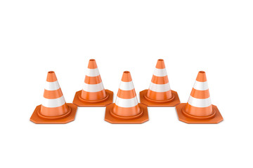 Rendering of orange-white striped traffic cones