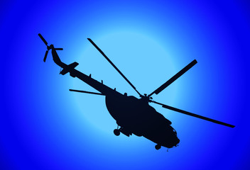 illustration of silhouette of military helicopter MI-17 and fullmoon in the night in blue tones