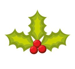 merry christmas leafs decoration vector illustration design