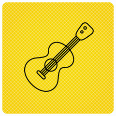 Guitar icon. Musical instrument sign. Band guitarist symbol. Linear icon on orange background. Vector