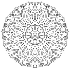 Page coloring mandala. Circular geometric