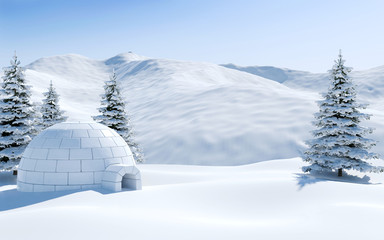 Igloo in snowfield with snowy mountain and pine tree covered with snow, Arctic landscape scene Fototapete