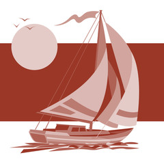 Sailing ship yacht in sunrise vector background