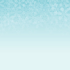 Vector light blue square background with frame of white elegant snowflakes for Christmas and New year, with place for text.