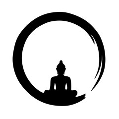buddha silhouette black circle zen buddhism vector