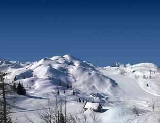 Fototapete - Perfect snow conditions on Vogel Ski Centre, Slovenia