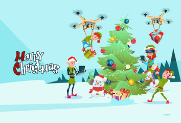 Green Elf Group Decoration Christmas Tree With Drone Wear Virtual Reality Glasses New Year Greeting Card Flat Vector Illustration