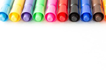 colored markers close-up