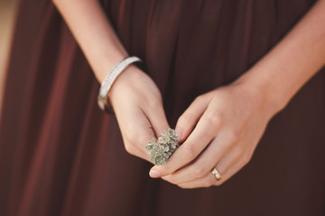 Closeup of a young woman holding a succulent in her hands