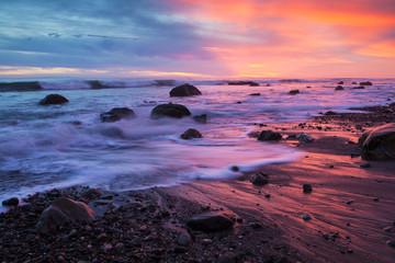 winter storms erode the sandy beach ar Arroyo Burro, or Hendry's Beach, in Santa Barbara, California