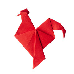 Fototapeta Red fire paper folded rooster handmade origami craft on white background isolated