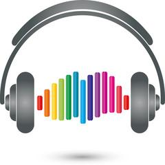 Kopfhörer, Equalizer, Musik Logo, Sound