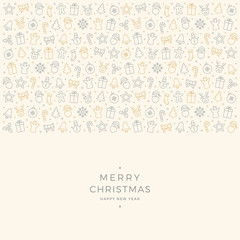 christmas element icons gold gray border background