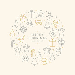 christmas icons elements circle gold gray beige background