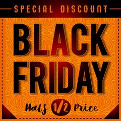 Black friday sale banner on patterned orange  background, vector