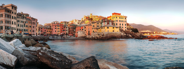 Sunset in Boccadasse panorame image Wall mural