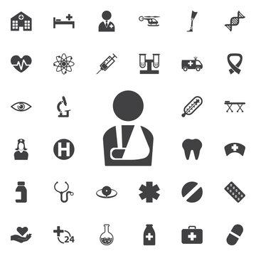 Injured man icon on the white background.