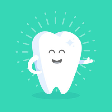 Cute cartoon tooth character with face, eyes and hands. The concept for the personage of clinics, dentists, posters, signage, web sites